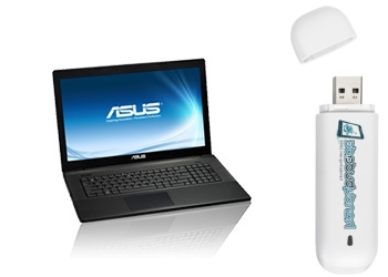 Notebook 17,3 Asus F75 + Surf-Stick 21,6 Mbits